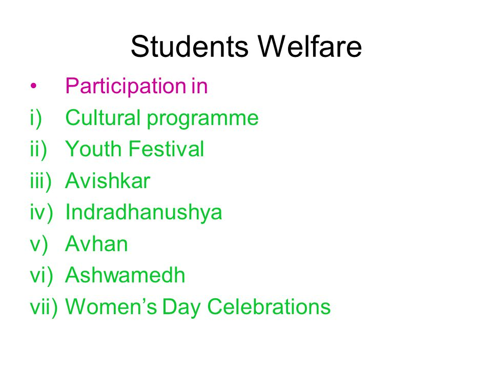 Students Welfare Participation in i)Cultural programme ii)Youth Festival iii)Avishkar iv)Indradhanushya v)Avhan vi)Ashwamedh vii)Women's Day Celebrations
