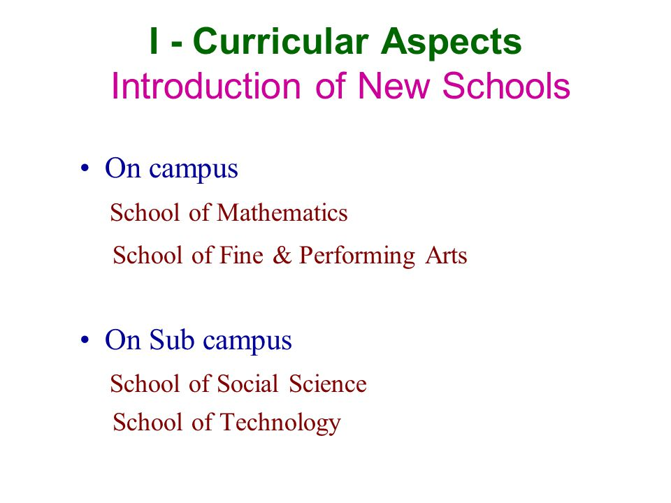 I - Curricular Aspects Introduction of New Schools On campus School of Mathematics School of Fine & Performing Arts On Sub campus School of Social Science School of Technology