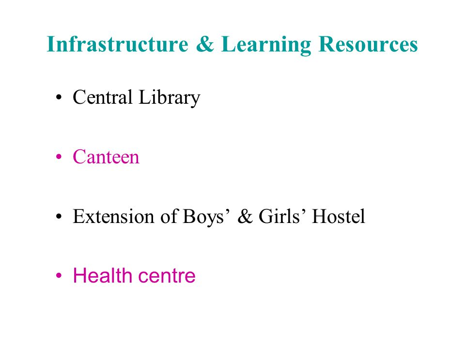 Central Library Canteen Extension of Boys' & Girls' Hostel Health centre Infrastructure & Learning Resources