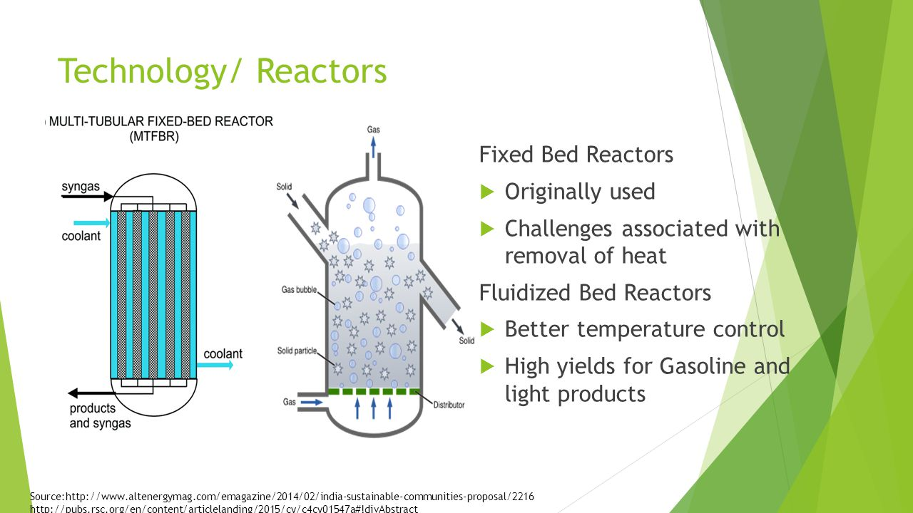 Technology/ Reactors Fixed Bed Reactors  Originally used  Challenges associated with removal of heat Fluidized Bed Reactors  Better temperature control  High yields for Gasoline and light products Source:http://www.altenergymag.com/emagazine/2014/02/india-sustainable-communities-proposal/2216 http://pubs.rsc.org/en/content/articlelanding/2015/cy/c4cy01547a#!divAbstract