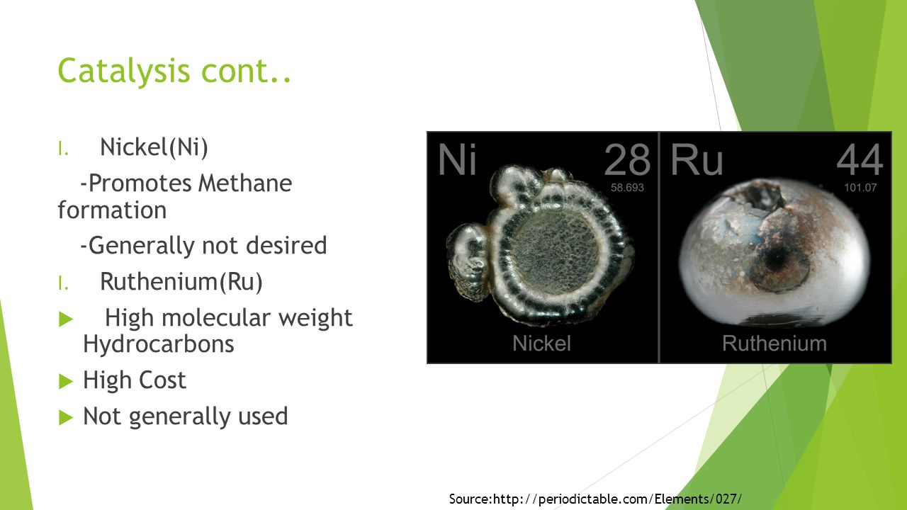 Catalysis cont.. I. Nickel(Ni) -Promotes Methane formation -Generally not desired I.