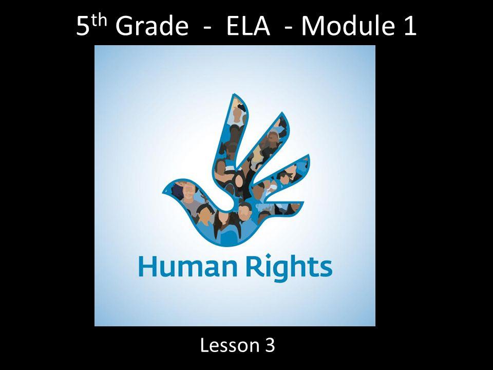 5 th Grade - ELA - Module 1 Lesson 3