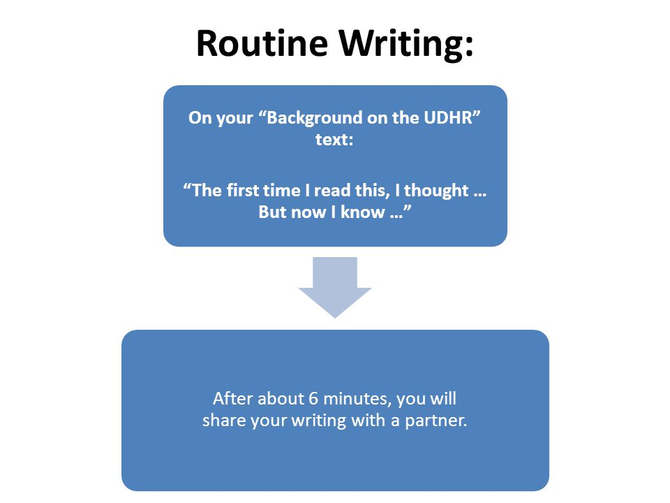 Routine Writing: On your Background on the UDHR text: The first time I read this, I thought … But now I know … After about 6 minutes, you will share your writing with a partner.