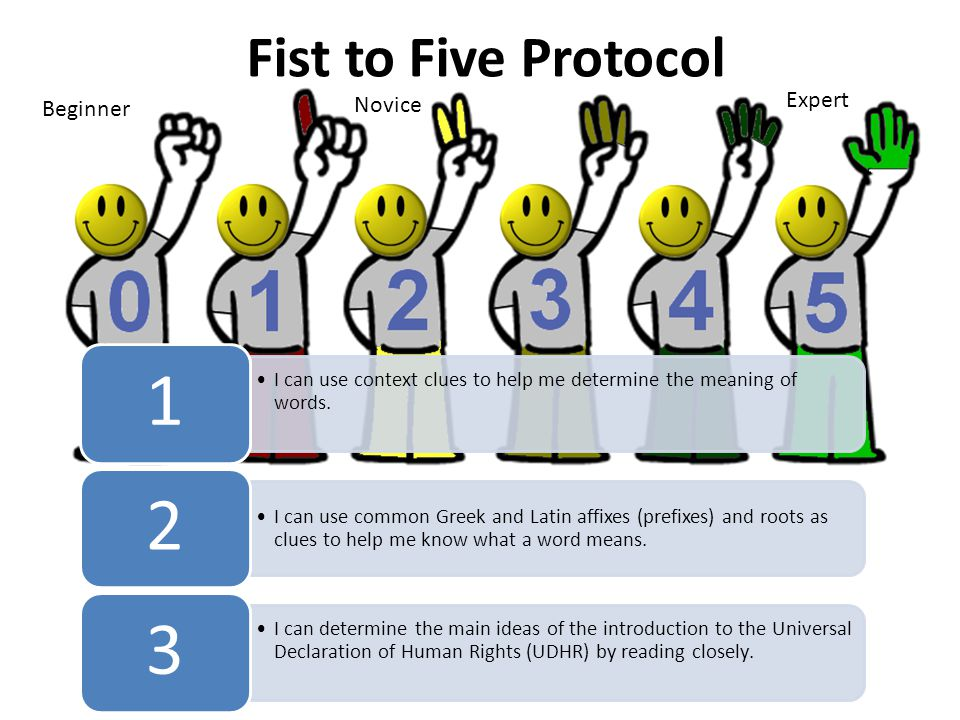 Fist to Five Protocol Expert Beginner Novice I can use context clues to help me determine the meaning of words. 1 I can use common Greek and Latin aff
