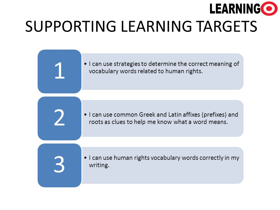 SUPPORTING LEARNING TARGETS I can use strategies to determine the correct meaning of vocabulary words related to human rights. 1 I can use common Gree