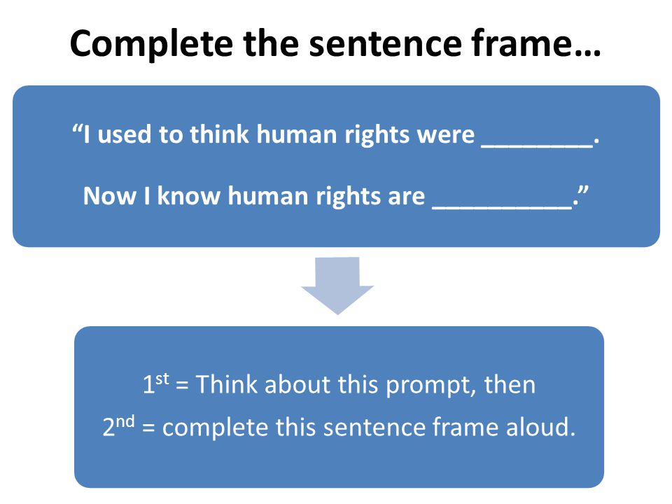 Complete the sentence frame… I used to think human rights were ________.
