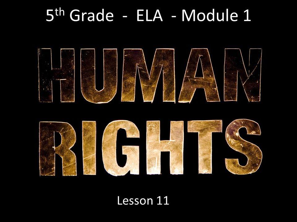 5 th Grade - ELA - Module 1 Lesson 11