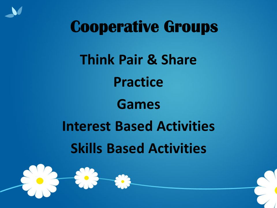 Think Pair & Share Practice Games Interest Based Activities Skills Based Activities