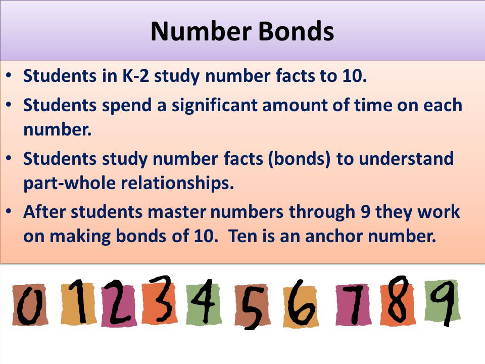 Number Bonds Students in K-2 study number facts to 10.