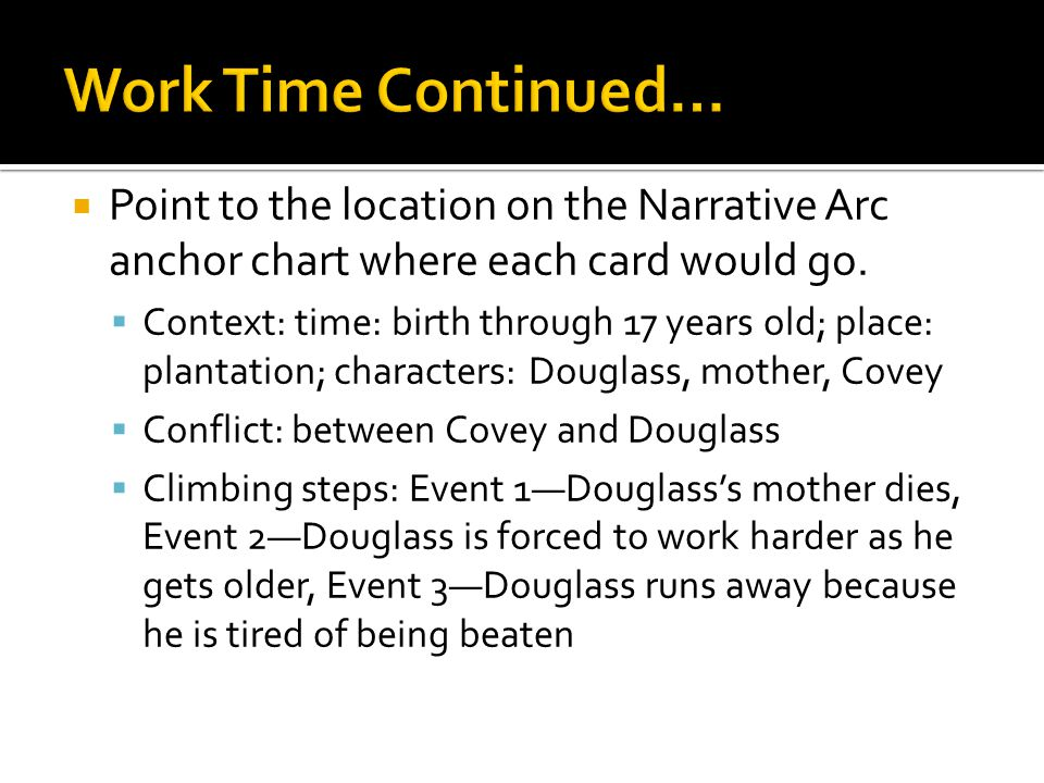  Point to the location on the Narrative Arc anchor chart where each card would go.