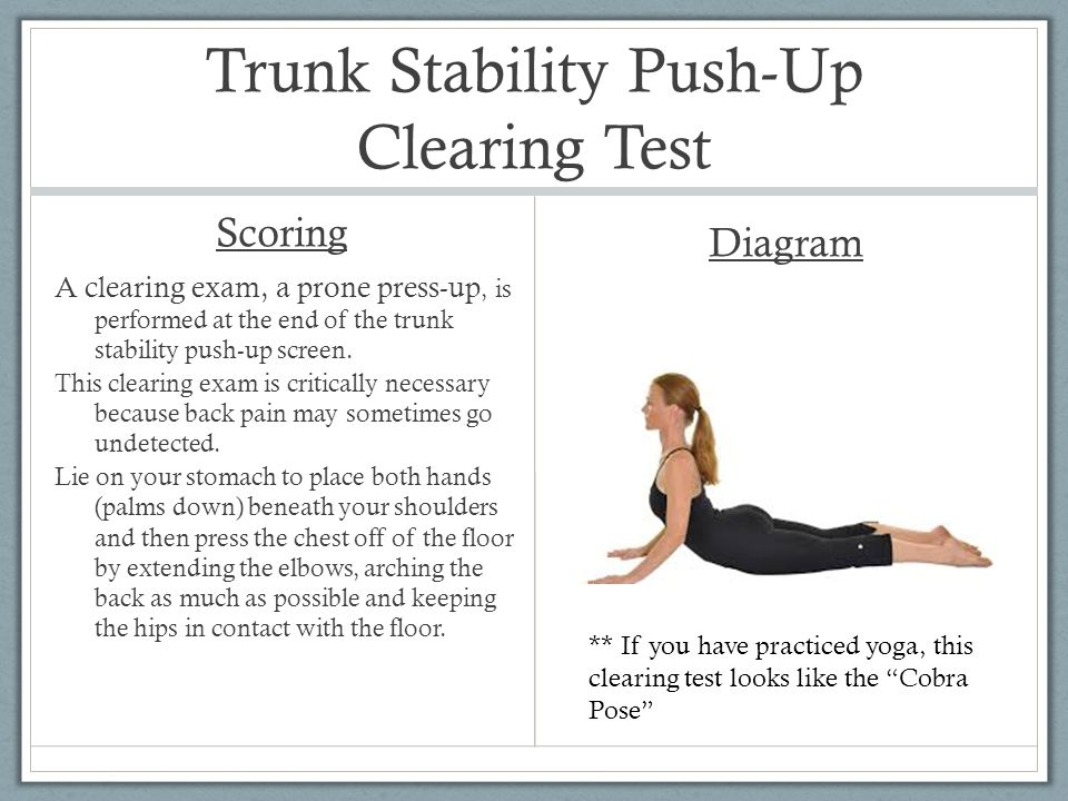 Trunk Stability Push-Up Clearing Test Scoring A clearing exam, a prone press-up, is performed at the end of the trunk stability push-up screen. This c