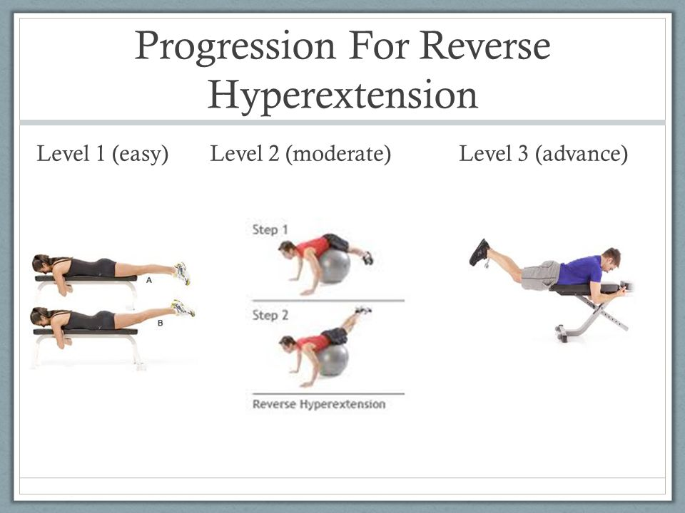 Progression For Reverse Hyperextension Level 1 (easy) Level 2 (moderate) Level 3 (advance)