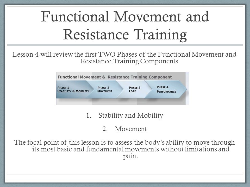 PHASE 1 Stability and Mobility The goal of the Stability and Mobility Phase is to develop postural stability throughout the kinetic chain without compromising mobility at any point in the chain. In simpler terms, the body parts that should be stable are stable, and the body parts that move should move correctly which leads to postural stability.