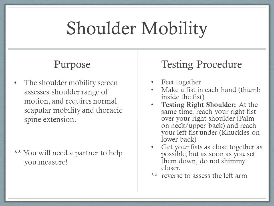 Shoulder Mobility Scoring 3 Points = Fists are within one hand length 2 Points= Fists are within one and a half hand lengths 1 Point= Fists are not within one and a half hand length 0 Points= Any pain associated with any portion of this test Diagram