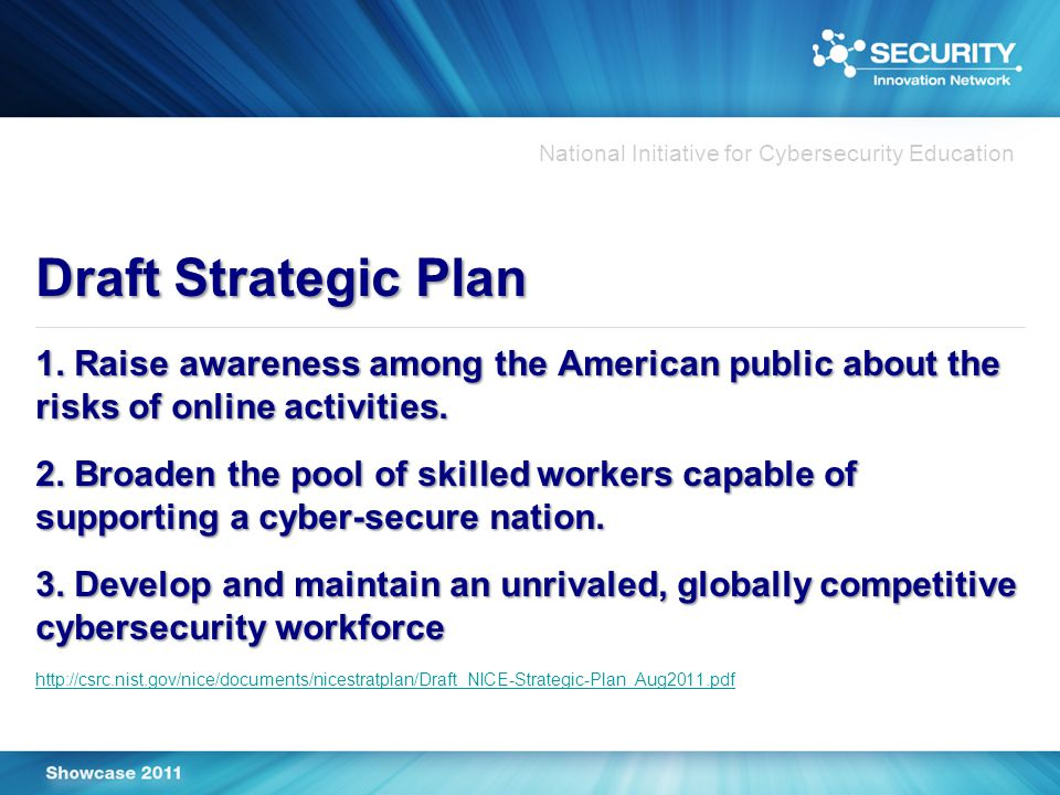 National Initiative for Cybersecurity Education Draft Strategic Plan 1.