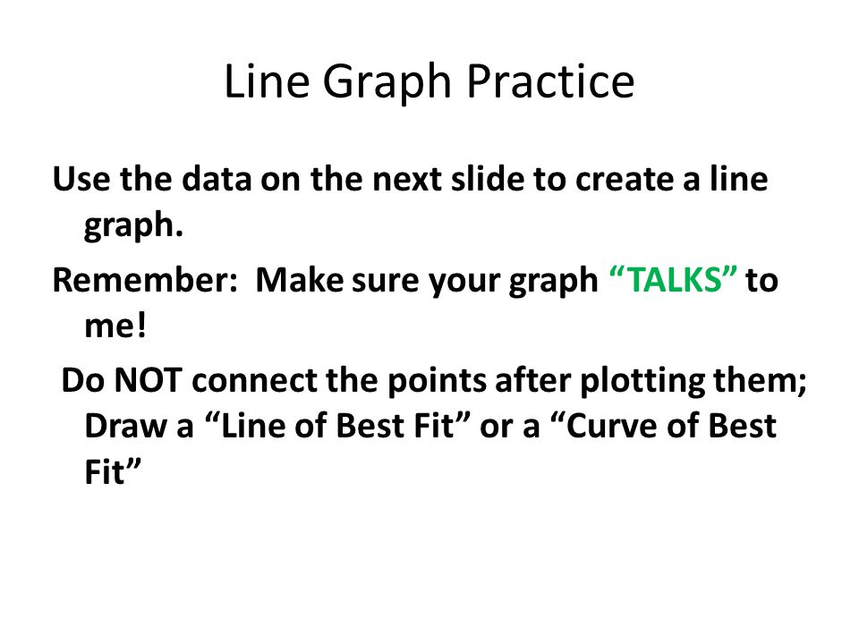"Line Graph Practice Use the data on the next slide to create a line graph. Remember: Make sure your graph ""TALKS"" to me! Do NOT connect the points aft"