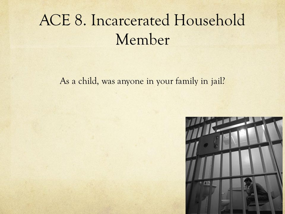 ACE 8. Incarcerated Household Member As a child, was anyone in your family in jail?