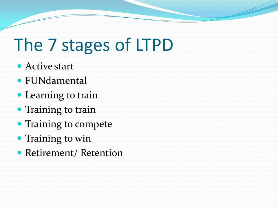 The 7 stages of LTPD Active start FUNdamental Learning to train Training to train Training to compete Training to win Retirement/ Retention