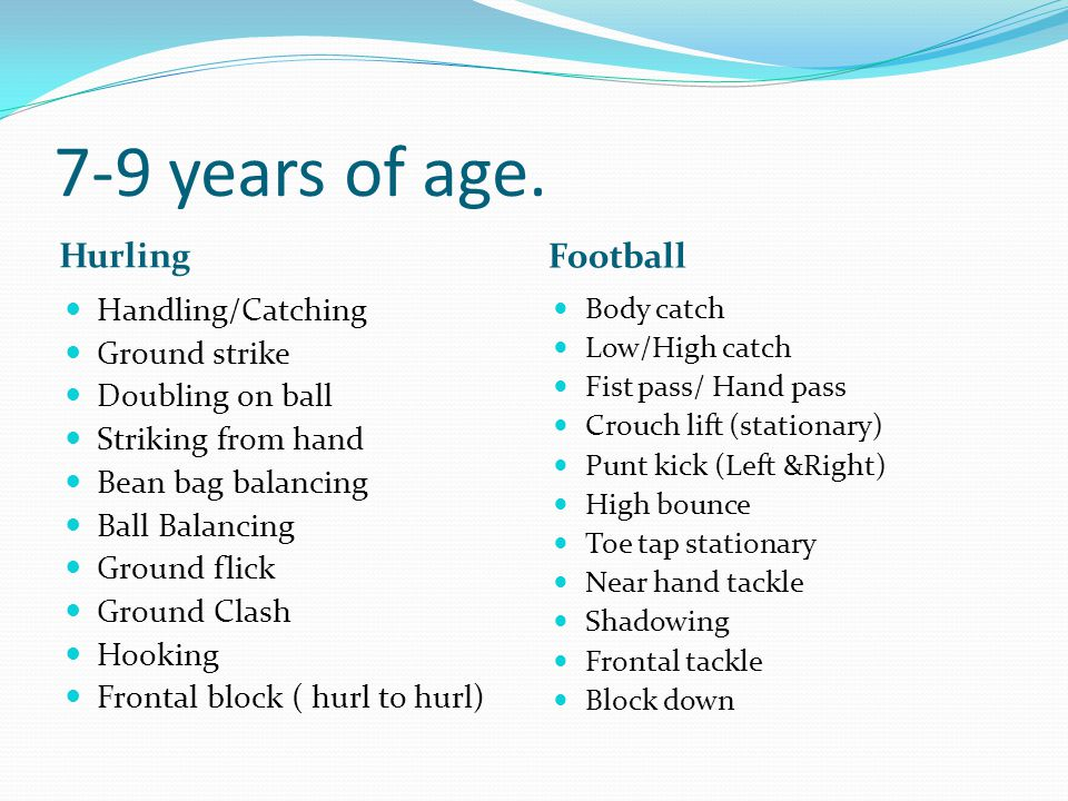 7-9 years of age. Hurling Football Handling/Catching Ground strike Doubling on ball Striking from hand Bean bag balancing Ball Balancing Ground flick