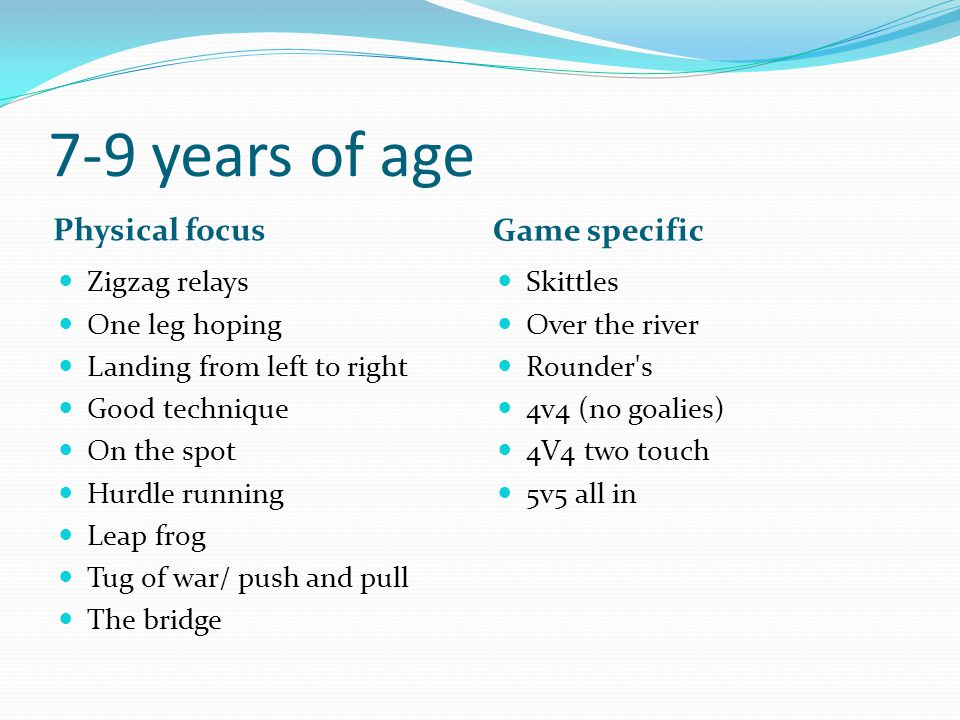 10-12 year of age Hurling Football Over head catch (hurl with hand) Hand passing (two hands) Striking on the run Short stick striking (left & right) Jab/roll lift (moving) Lift & strike Solo, Batting, side lines Hooking.