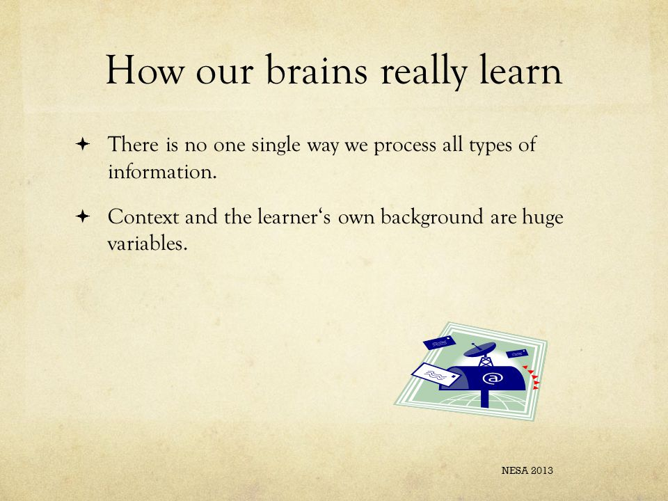 How our brains really learn  There is no one single way we process all types of information.