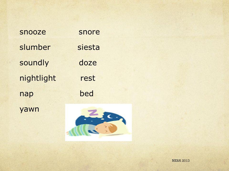 snooze snore slumber siesta soundly doze nightlight rest nap bed yawn dream NESA 2013