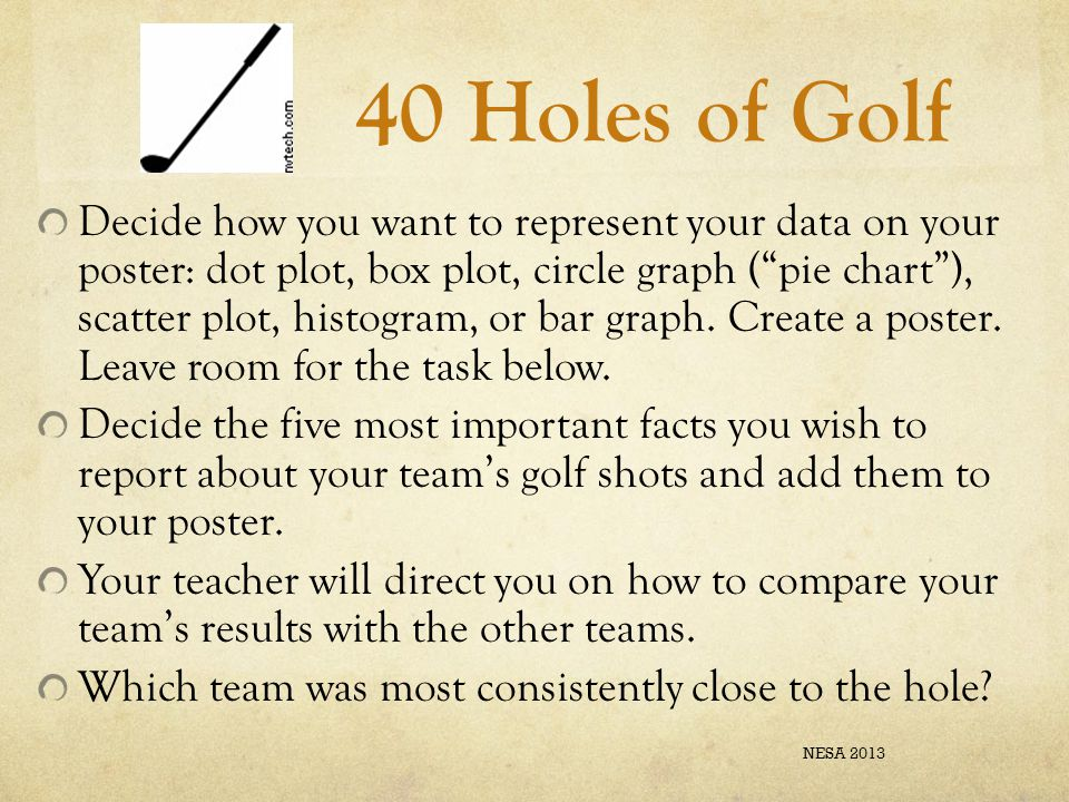 """40 Holes of Golf Decide how you want to represent your data on your poster: dot plot, box plot, circle graph (""""pie chart""""), scatter plot, histogram, o"""