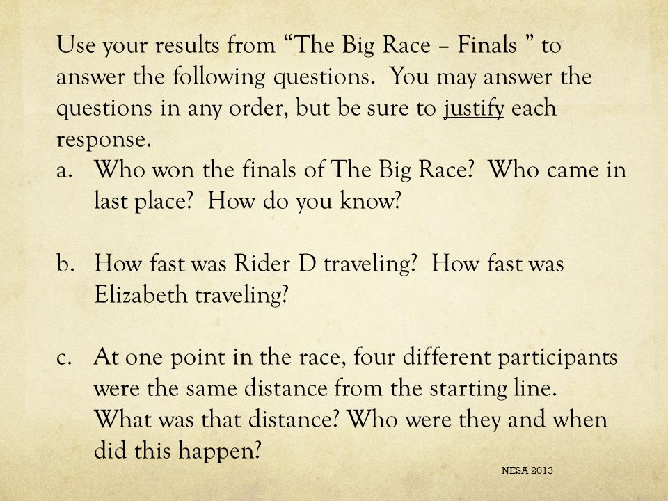 Use your results from The Big Race – Finals to answer the following questions.