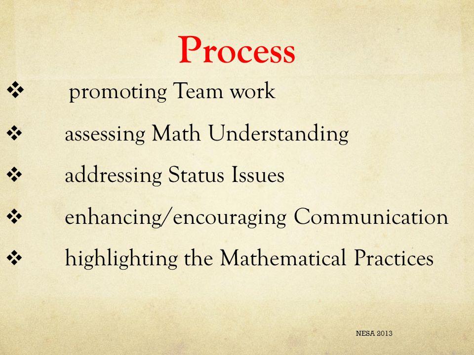 Process  promoting Team work  assessing Math Understanding  addressing Status Issues  enhancing/encouraging Communication  highlighting the Mathe