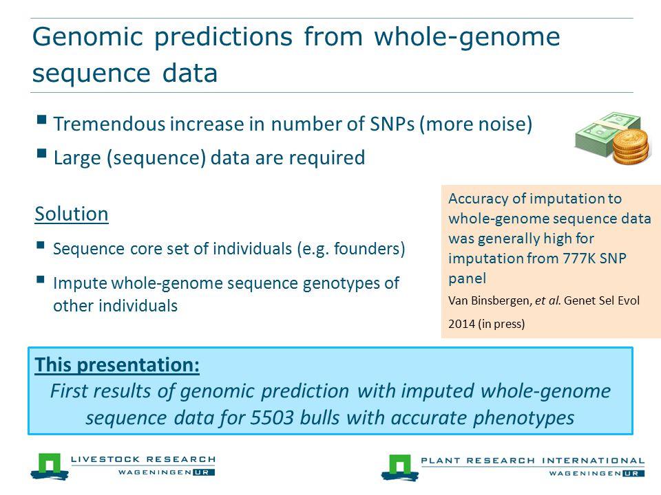 Concentrate on single chromosome (BTA 6) 777K SNP 12M SNP BSSSVS Bayes-C MCMC convergence