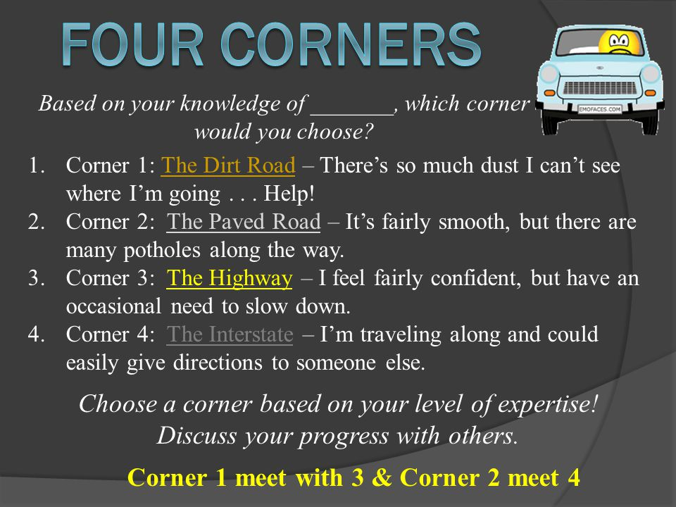 Choose a corner based on your level of expertise. Discuss your progress with others.