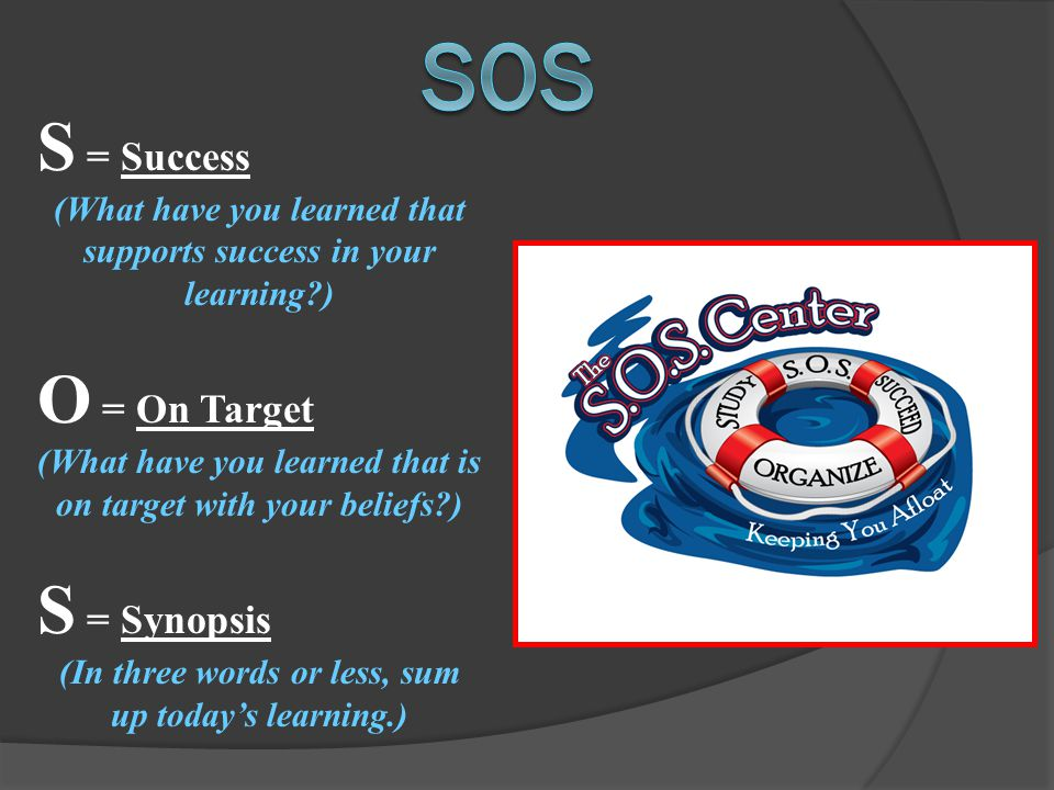 S = Success (What have you learned that supports success in your learning?) O = On Target (What have you learned that is on target with your beliefs?) S = Synopsis (In three words or less, sum up today's learning.)