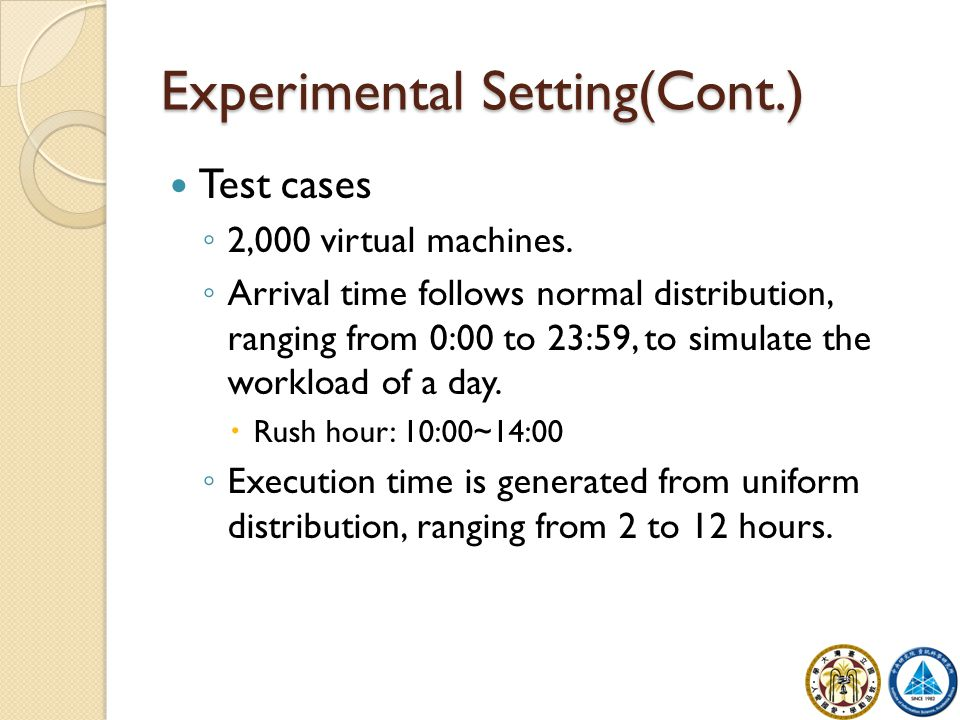 Experimental Setting(Cont.) Test cases ◦ 2,000 virtual machines. ◦ Arrival time follows normal distribution, ranging from 0:00 to 23:59, to simulate t
