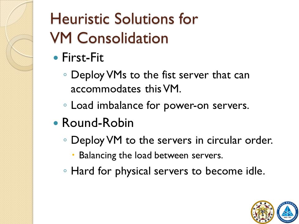Dynamic Round-Robin Minimize the number of physical server used to run all virtual machines.