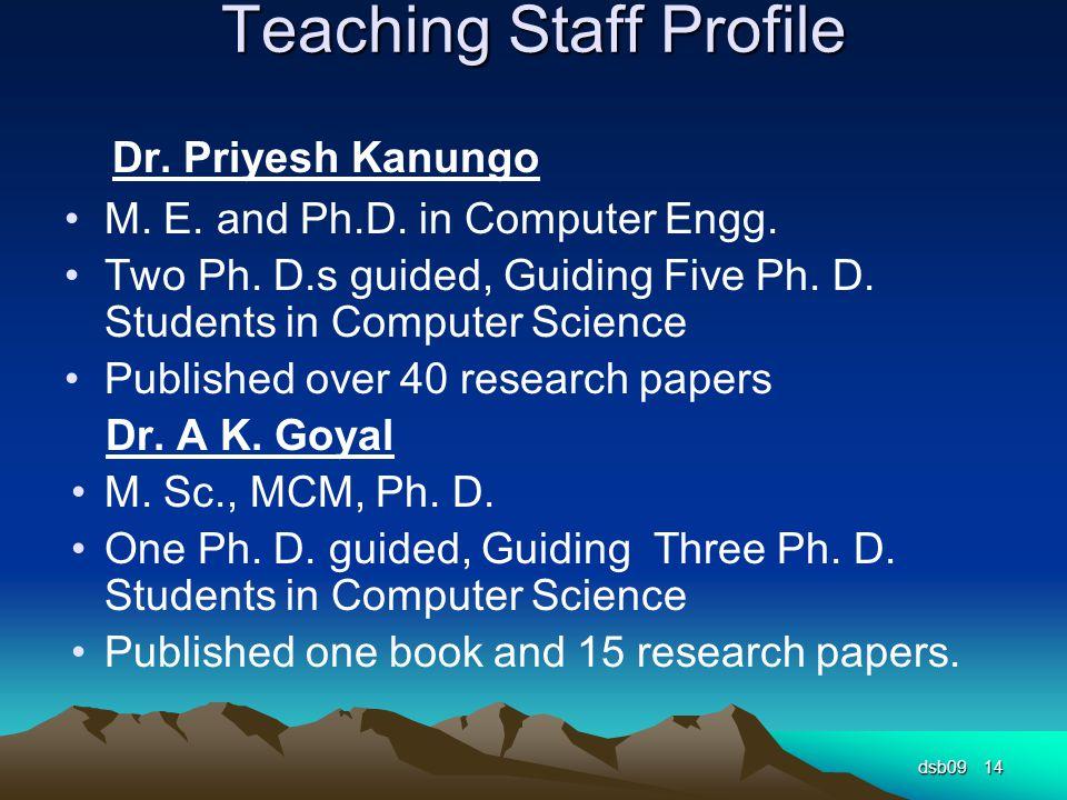 Teaching Staff Profile Dr. Priyesh Kanungo M. E.