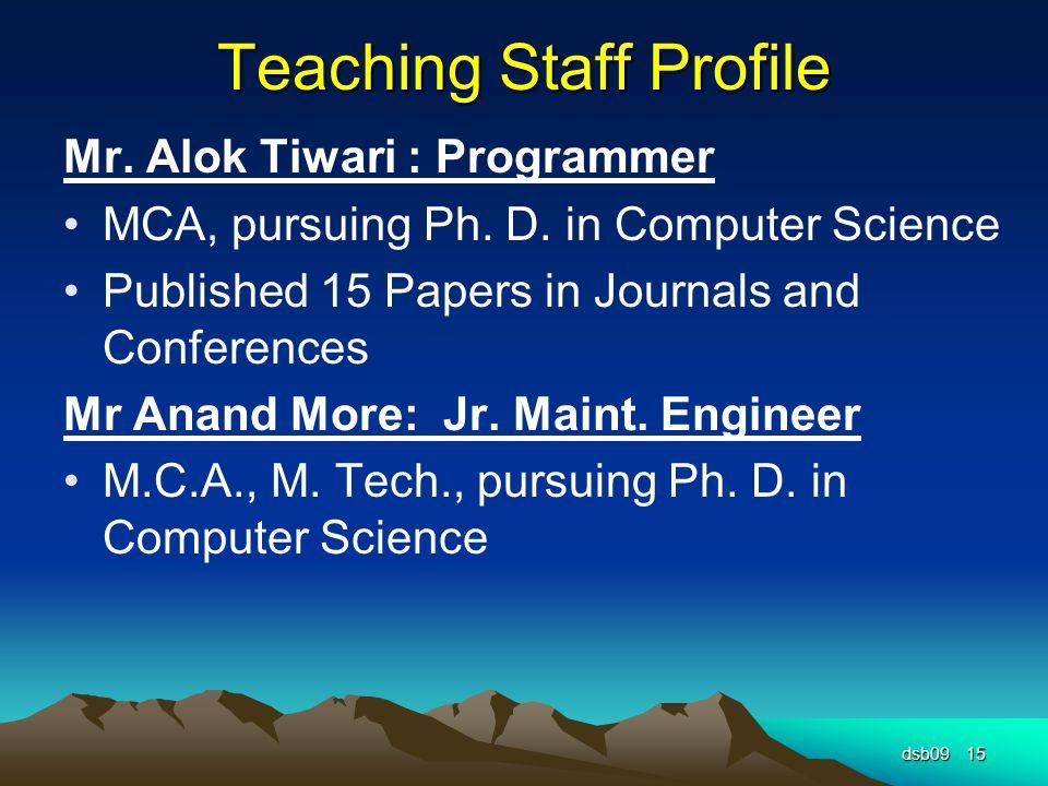 Teaching Staff Profile Mr. Alok Tiwari : Programmer MCA, pursuing Ph.
