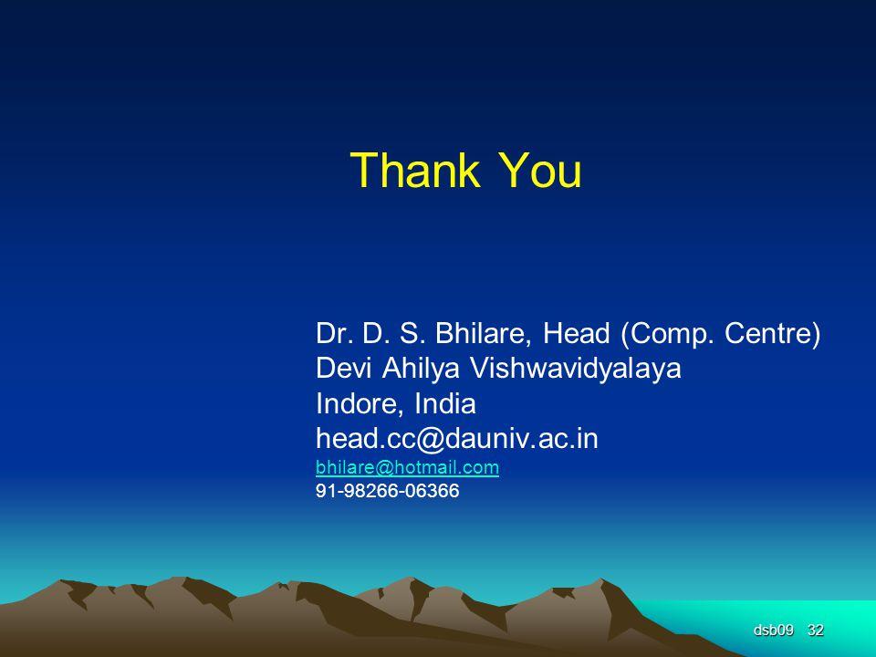 dsb0932 Thank You Dr. D. S. Bhilare, Head (Comp.