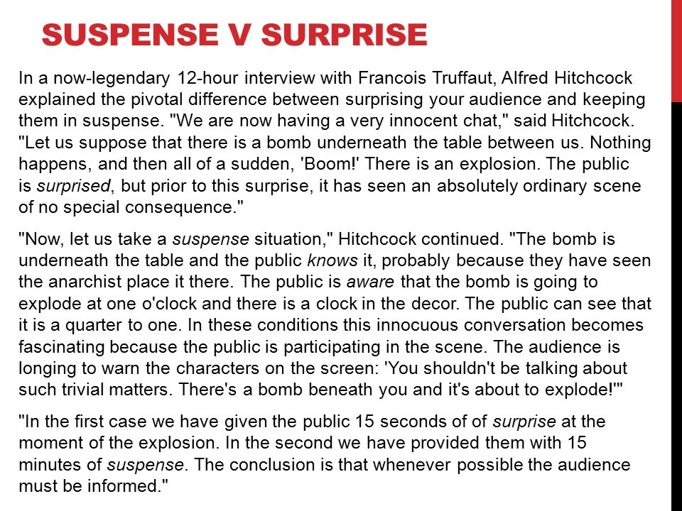 SUSPENSE V SURPRISE In a now-legendary 12-hour interview with Francois Truffaut, Alfred Hitchcock explained the pivotal difference between surprising your audience and keeping them in suspense.