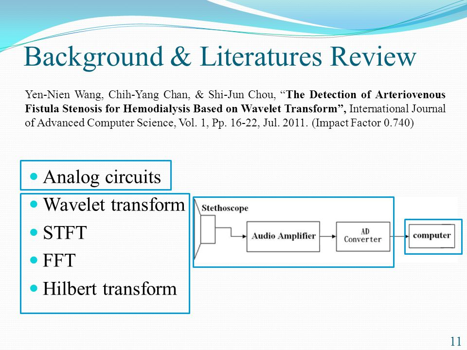 Analog circuits Wavelet transform STFT FFT Hilbert transform 11 Yen-Nien Wang, Chih-Yang Chan, & Shi-Jun Chou, The Detection of Arteriovenous Fistula Stenosis for Hemodialysis Based on Wavelet Transform , International Journal of Advanced Computer Science, Vol.