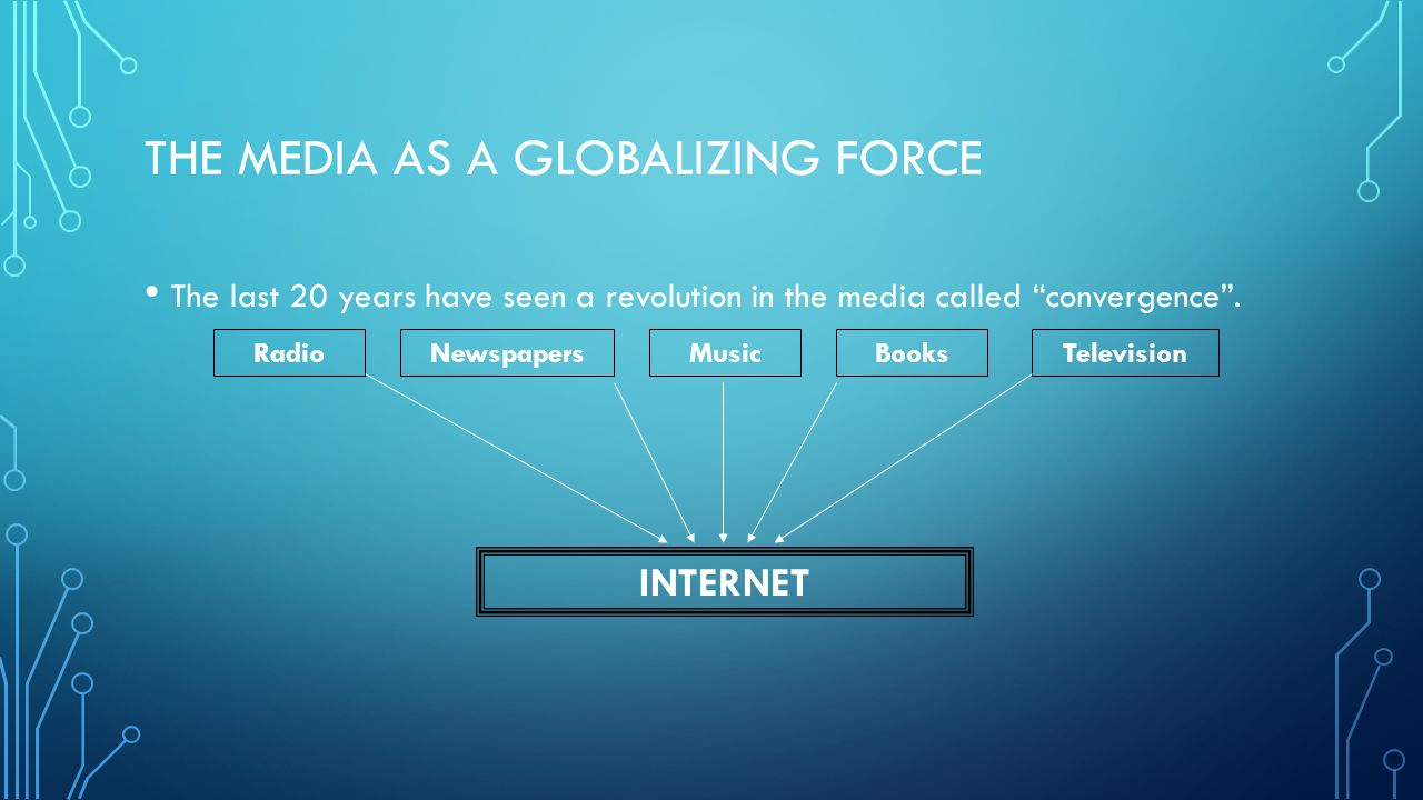 """THE MEDIA AS A GLOBALIZING FORCE The last 20 years have seen a revolution in the media called """"convergence"""". RadioNewspapersMusicBooksTelevision INTER"""