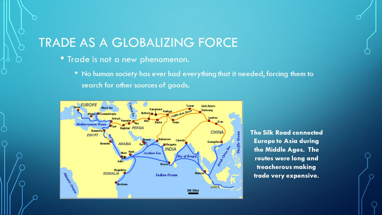 TRADE AS A GLOBALIZING FORCE Trade motivates contact between societies and cultures.