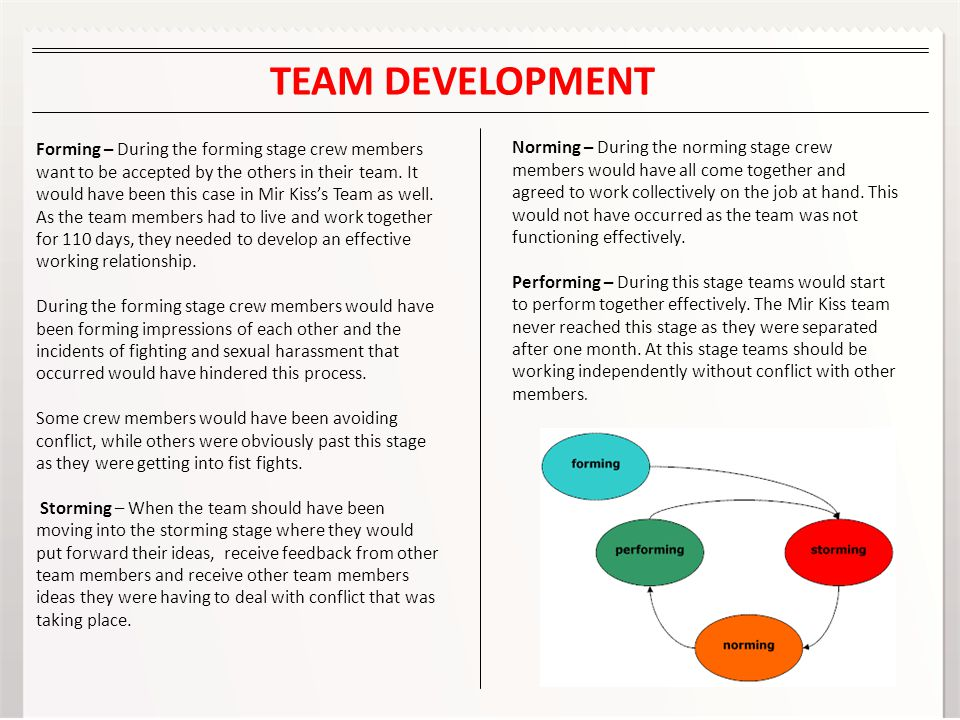 Forming – During the forming stage crew members want to be accepted by the others in their team.