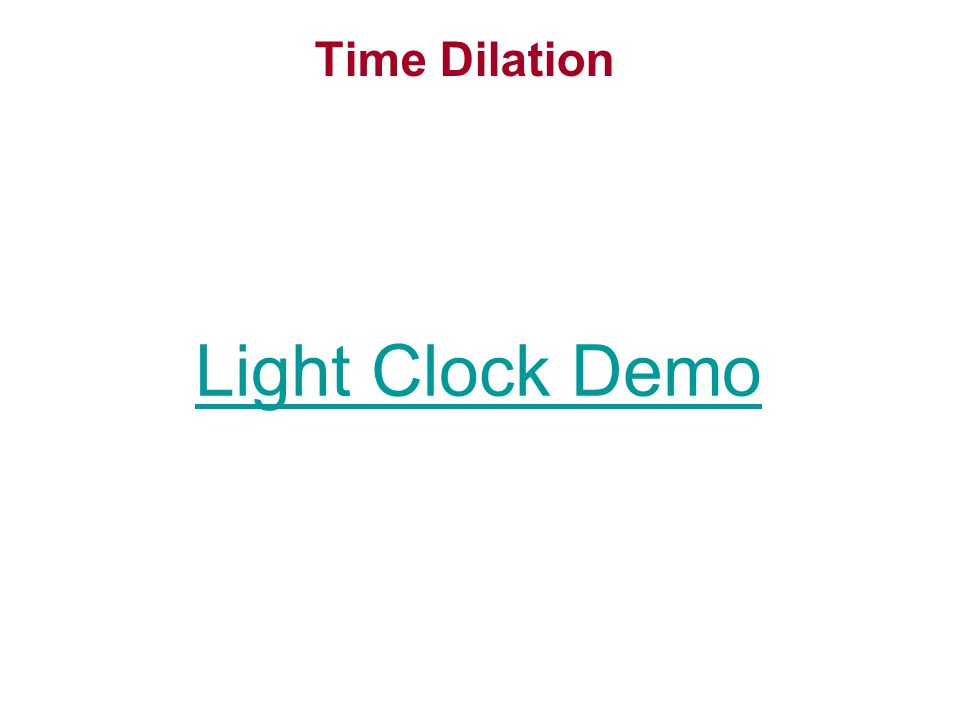 Time Dilation Light Clock Demo