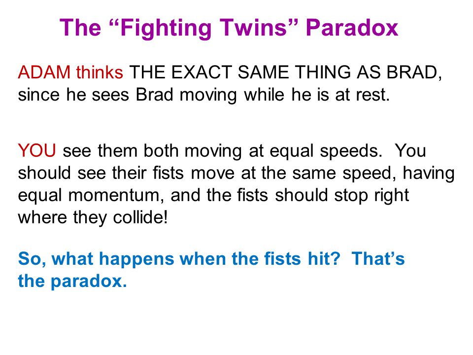 The Fighting Twins Paradox ADAM thinks THE EXACT SAME THING AS BRAD, since he sees Brad moving while he is at rest.