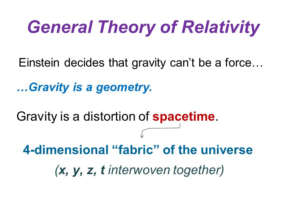 General Theory of Relativity Einstein decides that gravity can't be a force… …Gravity is a geometry.