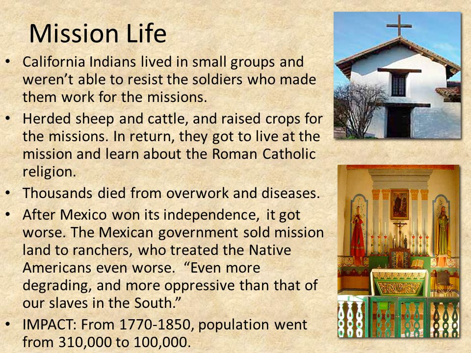 Mission Life California Indians lived in small groups and weren't able to resist the soldiers who made them work for the missions. Herded sheep and ca