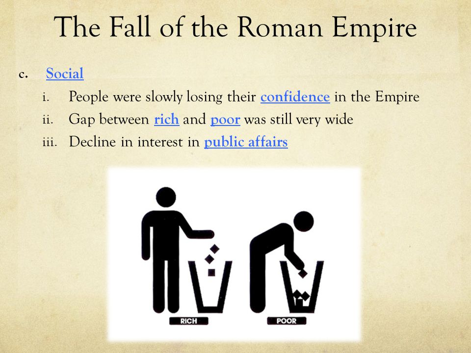 The Fall of the Roman Empire c. Social i. People were slowly losing their confidence in the Empire ii. Gap between rich and poor was still very wide i