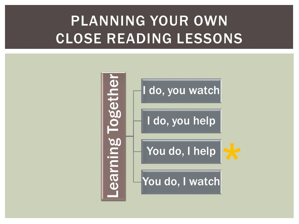 PLANNING YOUR OWN CLOSE READING LESSONS Learning Together I do, you watch I do, you help You do, I help You do, I watch *