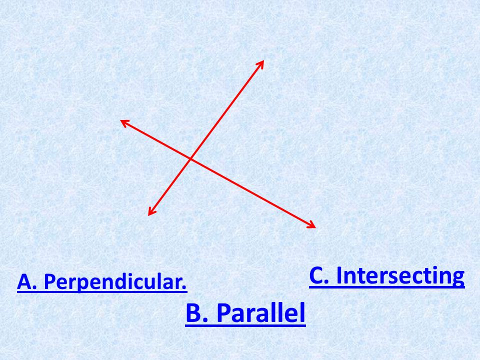 A. Perpendicular. B. Parallel C. Intersecting