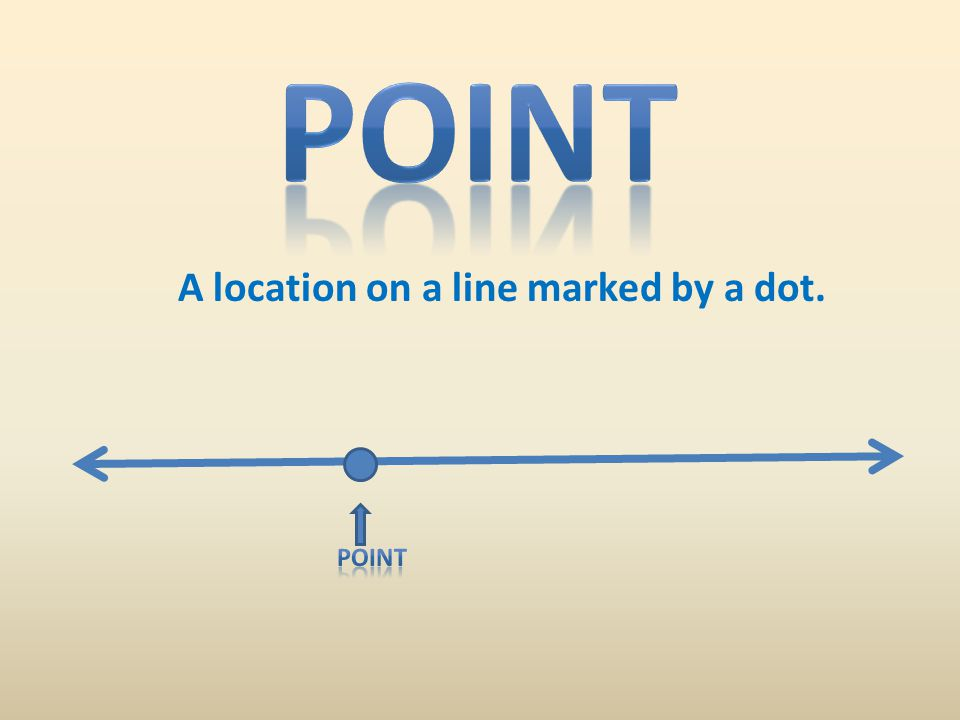 A location on a line marked by a dot.
